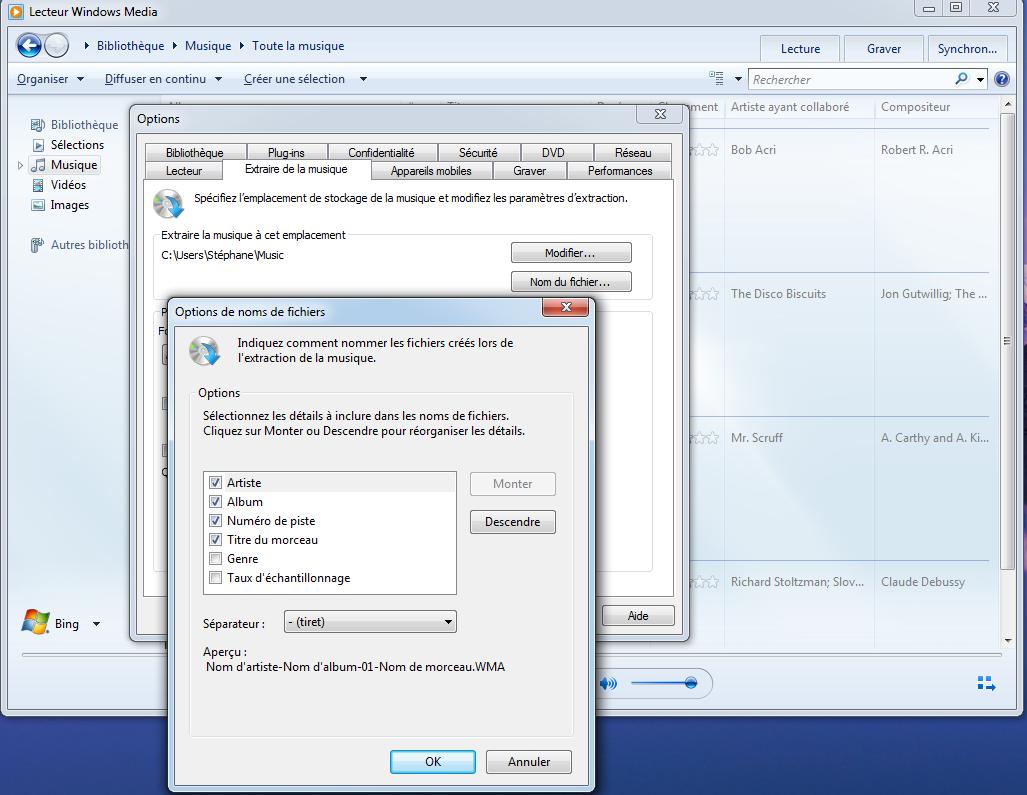 Convertir un cd en mp3 avec lecteur windows media